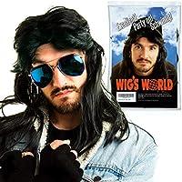 AWS Mullet Peluca – Peluca Larga de Vestido Negro para Waynes World, Ficción de Pulp