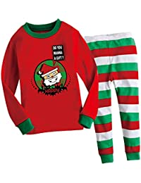 60d3cb0e8abb0 Tout-petit Unisexe 2pcs Pyjama Père Noël Manches Longues 100% Coton Vetement  de Nuit
