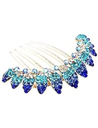 Ecloud Shop® Niñas preciosas flores azules Joyería Crystal Pinzas de pelo de la horquilla