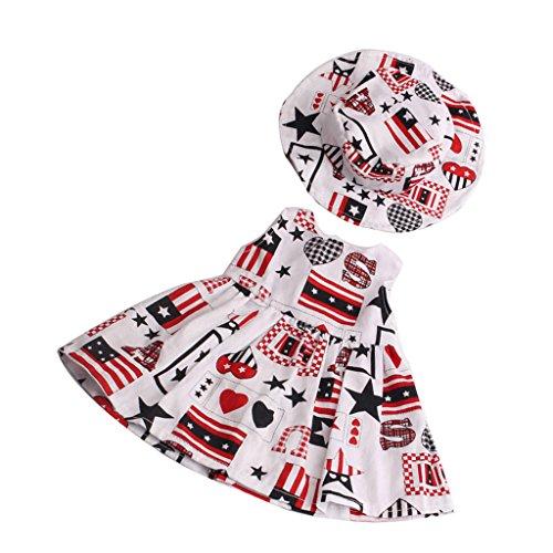 Gazechimp 2 Pièces Vêtement de Poupée Robe Chapeau Graffiti Jupe Sans Manches en Tissu Accessoires Pour 18