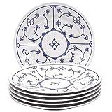 Kahla 16G108A75019H Blau Saks blauweiß Tellerset für 6 Personen Porzellan 6-teilig Speiseteller Blumendekor flach Teller rund Essteller
