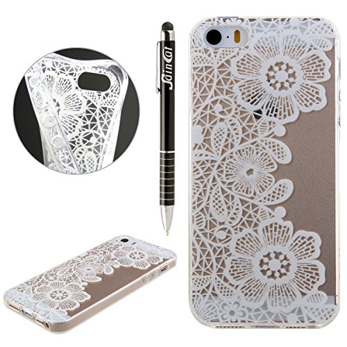 iPhone 5C Hülle, iPhone 5C Silikon Crystal Case Hülle mit Malerei Muster, SainCat Weiche Transparent Silikon Schutzhülle Hülle Gel Bumper Soft TPU Case Backcase Weiches Crystal Clear Tasche Handyhülle Drei Chrysantheme