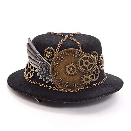 SANHENGMIAO STORE Für Damenhüte Party Display Cosmetic Cap Minirock Zylinder Vintage Lolita Kleine Hut Zubehör (Farbe : Schwarz, Größe : 28-30cm)