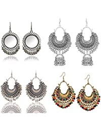 FashMade Gold Brass Antique Ethnic Jhumki Chandbali Style for Women Pack of 4