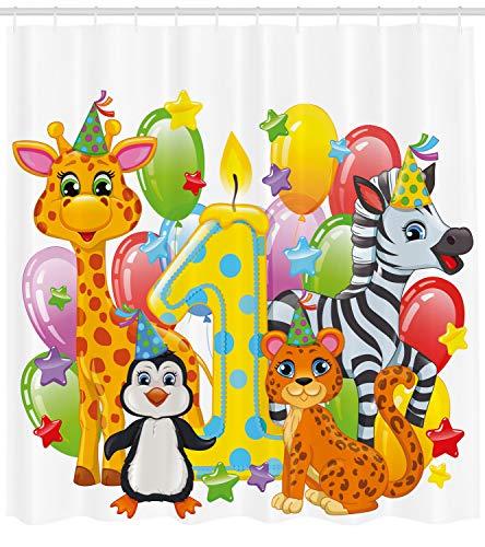 vorhang, Safari Tier Geburtstag, mit 12 Ringe Set Wasserdicht Stielvoll Modern Farbfest und Schimmel Resistent, 175x180 cm, Mehrfarbig ()