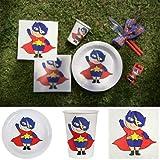 Like a Girl-wir lieben Hochzeiten Party-Set Superheld, 60 Teile Dekoset Geburtstag Superheld Set Partygeschirr Pappteller Pappbecher Servietten
