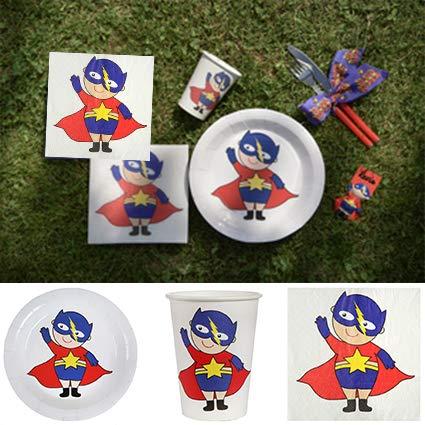 en Hochzeiten Party-Set Superheld, 60 Teile Dekoset Geburtstag Superheld Set Partygeschirr Pappteller Pappbecher Servietten ()