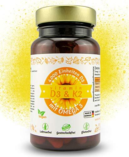 Vitamin D3, K2 (MK7) und Omega 3 – hochdosiert 4000 I.E. | 90 Depot Kapseln (alle 4 Tage eine) | 100% Pflanzlich, Vegan und ohne Zusatzstoffe | Laborgeprüft und hergestellt in Deutschland