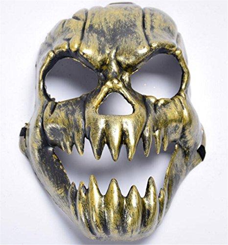 SHUNLIU Totenschädel Horrormaske Glänzende Skelett Maske in Gold & Silber Halloween Skelettmaske Totenkopf Maske Karnevalskostüme Faschingsmaske Halloween (Kostüm Das Glänzende Schwein)