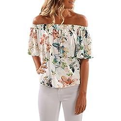 BOLAWOO Camiseta De Mujer Verano Manga Corta Sin Hombro Blusas Elegantes Vintage Asimétrico Estampados De Flores Tops Camisas