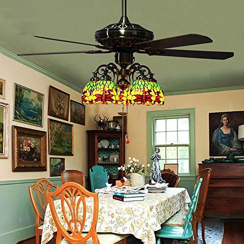 entilator Mit Lichtern Kit (5 Holzklingen LED Deckenleuchte) E27-6 Licht Vintage Kronleuchter Indoor Für Wohnzimmer Schlafzimmer Esszimmer (keine Lichtquelle) (Farbe : Grün-220v) ()