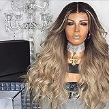 BFACCIA Perruque Cosplay Pour Femmes Gradient Marron Dégradé d'Or 70cm Cheveux Synthétiques Longue Lâche Complète Bouclé Ondulé Chaleur Résistant