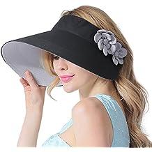e30130595352 CACUSS Casquette à Visière Femme Eté Anti-UV Chapeau de Soleil Pliage Doux  et Vide