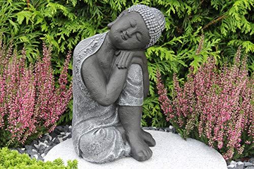 Steinfigur Buddha, Gartenfigur Steinguss Basaltgrau - 5