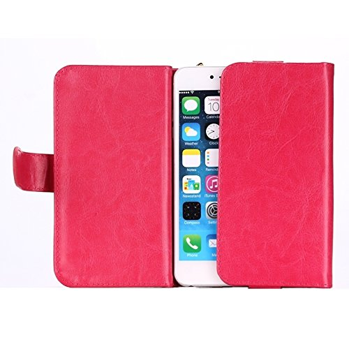 Phone case & Hülle Für iPhone 6 Plus / 6S Plus / 6/5 / 5S / 5C, Samsung Galaxy / S 5 / S IV / I9500, Universalfeine Schaffell Textur Leder Tasche mit Card Slots & Wallet & Lanyard ( Color : Brown ) Magenta