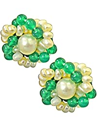 Surat Diamonds Traditional Real Freshwater Pearl, Green Onyx & Gold Plated Kuda Jodi Earrings For Women (SE35)