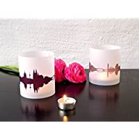 KÖLN Skyline Stadt Windlicht, Tischlicht personalisierbar, 2er Set Lichthülle Teelicht Tischdekoration in greige & pflaume, Geschenkidee Mitbringsel für Köln-Fans von 44spaces