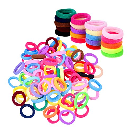 Pferdeschwanz Haare Bindung Haargummi für Mädchen, verschiedene Farben, 100 Stück