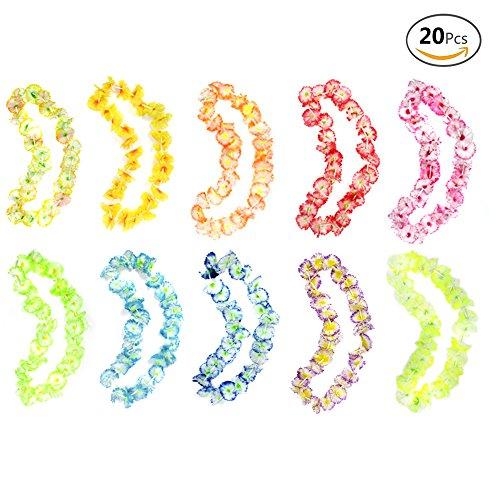aii Blumenketten Hawaiikette Halskette für Strand Thema Party Lieferungen, 10 Farben (Seide Blume Halskette)