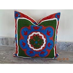"""handicraftodpinkcity Hippie Pom Pom De Encaje Algodón Vintage Suzani-Funda de cojín (bordado 16x 16""""Indio Funda De Almohada Cojín de decoración Throw"""