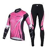 Gwell Femme Maillot de Cyclisme Veste Manches Longues + Pantalon de Sport Vélo Rose