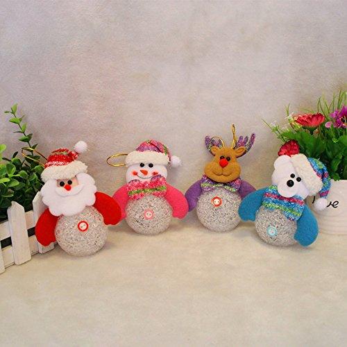Forepin® 4x LED Luce Albero di Natale Appeso Decorazione Natale Bambola Casa Ornaments Regalo di Compleanno