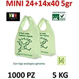 1000 MINI BUSTE BIODEGRADABILI shoppers biocompostabili 24+14x40 bio biodegradabili e compostabili gr 5 UNI 13432 (1000 shopp