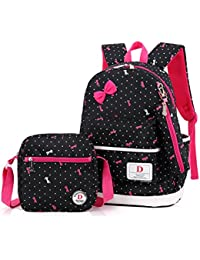 FRISTONE Conjunto de 3 Polka Dot Niños Bolsas de Libros Escuela/bolsas escolares/mochila niños niñas adolescentes + bolso crossbody+bolsa lápiz (Negro)