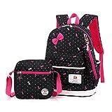 FRISTONE Set von 3 Mädchen Polka Punkt BuchTasche/Schultaschen/Rucksäcke /Schulrucksäcke /Kinderbuchtasche Mädchen Teenager + Mini handtasche + Federmäppchen(Schwarz)