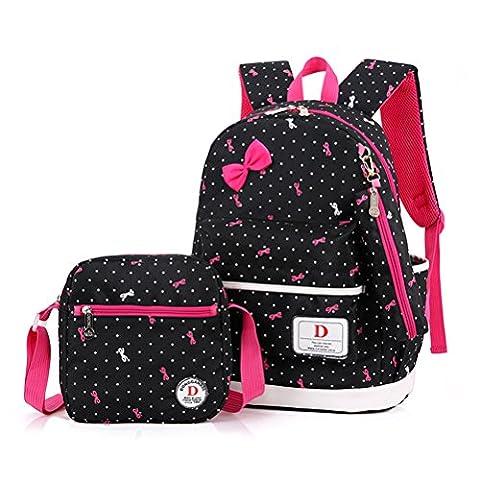FRISTONE Set von 3 Mädchen Polka Punkt BuchTasche/Schultaschen/Rucksäcke /Schulrucksäcke /Kinderbuchtasche Mädchen Teenager + Mini handtasche +