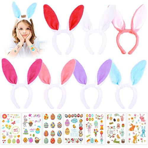 Howaf 7 Pack Plüsch Oster Hasenohren Haarreif Haarschmuck und 7 Blätter Ostern tattoos set für Kinder Erwachsene Ostern Party Kostüm Cosplay ()