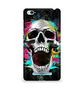 Amez designer printed 3d premium high quality back case cover for Xiaomi Mi4i (Growl Shouting Skull Colorful)