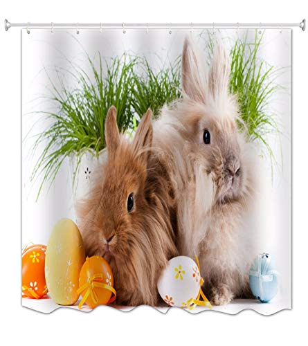 änge Ostereier Mit Bändern Kaninchen Kaninchen Ostern Urlaub Print Tuch Stoff Wasserdicht Mehltau Resistent Dusche Vorhänge Für Kinder Bad Dusche Dekorationen 150X180 cm / 60