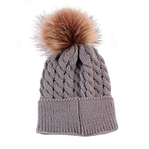 Bluelans® Newborn Cute Winter Kids Baby Hats Knitted Hemming Skullies Beanies Hat with Large Fur Pom Pom Cap (Grey)