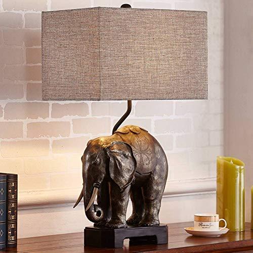 JFHGNJ lámpara de mesa Wohnzimmer Schlafzimmer Nachtlicht Harz Elefant Skulptur Statue E27...