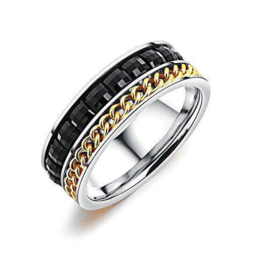 Anyeda Titanringeherrenringe Silber Welle Ring Damen Dünn Ringe Männer Löwe Cz Kette Schwarz Ringgröße 62 (19.7)