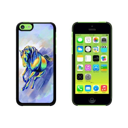 Pferd Laufweste Abstraktes - Motiv bis Painterly Schutzhülle zum Aufstecken für Apple iPhone 5C - Schwarz