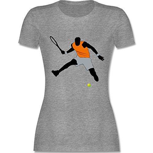 Tennis - Tennis Squash Sprung Tennisball - tailliertes Premium T-Shirt mit Rundhalsausschnitt für Damen Grau Meliert