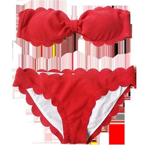 LuckyGirls ❤️• •❤️ Donne sexy reggiseno spiaggia halter Bikini costumi da bagno floreale tinta unita sexy affascinante Bikini Rosso