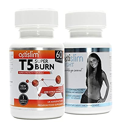 T5 Max Strength Fat Burners | Best Slimming Diet Pills Super Strong | T5s Weight Loss Tablets (60 Capsules) & Actislim Night Time Weight Loss Capsule 84 Capsules - 6 Week Supply by Actislim