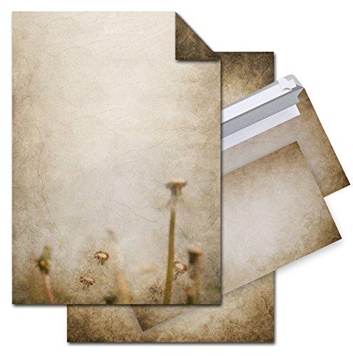SET: 25 Blatt Briefpapier VINTAGE PUSTEBLUME beidseitig bedruckt, Motiv-Drucker-Schreib-Dekor-Schreib-Papier + 25 Stück DIN Lang Kuverts; braun beige marmoriert auf alt (Großhandel Dekor Vintage)