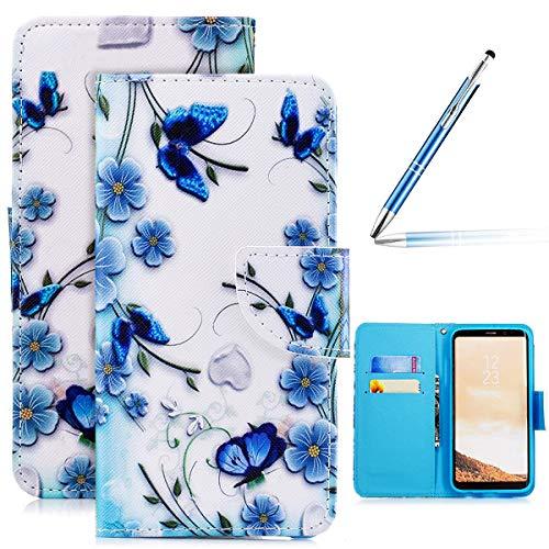 Galaxy S8 Leder Hülle Flip Wallet Case Cover Brieftasche Hülle Schutzhülle mit 4D Bunt Vintage Painted Schmetterling Katze Muster PU Premium Schale Handy Tasche Handyhüllen Samsung Galaxy S8