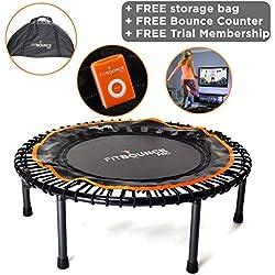 FIT BOUNCE PRO - Mini trampoline de qualité supérieure pliable en deux avec sac de transport et rebondimètre pour mesurer les rebonds