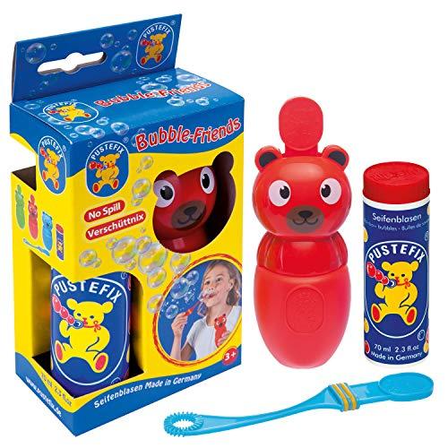 Pustefix Bubble-Friends Bär I 70 ml Seifenblasenwasser I Bubbles Made in Germany I Seifenblasen Spielzeug für Kindergeburtstag, Polterabend, Sommerparty & als Gastgeschenk I Spaß für Kleinkinder