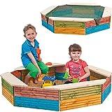 Unbekannt Holz - Sandkasten -  Bunte Farben  - Ø 132 cm - 8 eckig - mit Abdeckplane / Sandspielkasten mit Sitzfläche & Plane / Dach - Spielzeug Ablage / Strandspielze..
