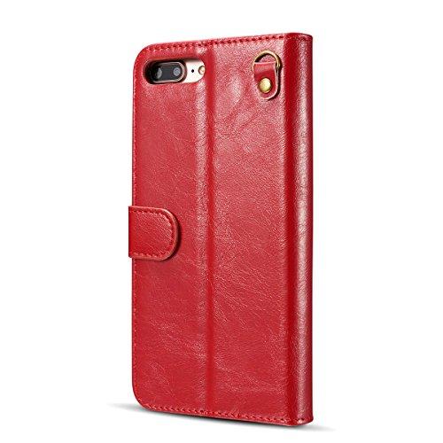 Phone Case pour Apple iPhone Book Style rigide en aspect cuir étui à 7Plus 5,5verschließbare Housse Coque Rot