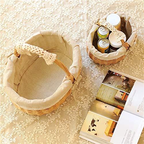 ACZZ Wicker Woven Basket, Einkaufspicknickkorb mit Griffen und Baumwollfutter Oval Willow Storage Basket, Small,Klein