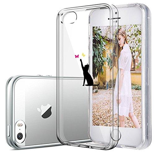 Qissy®Schutzhülle für iPhone SE /5 / 5S Hülle Case TPU Crystal Hülle Schlank Transparent Weicher Gel Silikon Handy Hülle Crystal Clear Case Sketch Design (iPhone 5/5S/SE, 4) 15