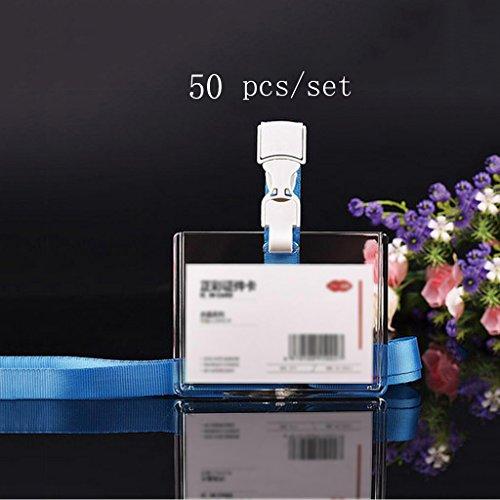 Liu Yu·Bürofläche, Bürobedarf hellblaue Farbe transparente Abzeichen Arbeitskarte setzt Lanyard Mitarbeiter Marke 50 Stück / Set