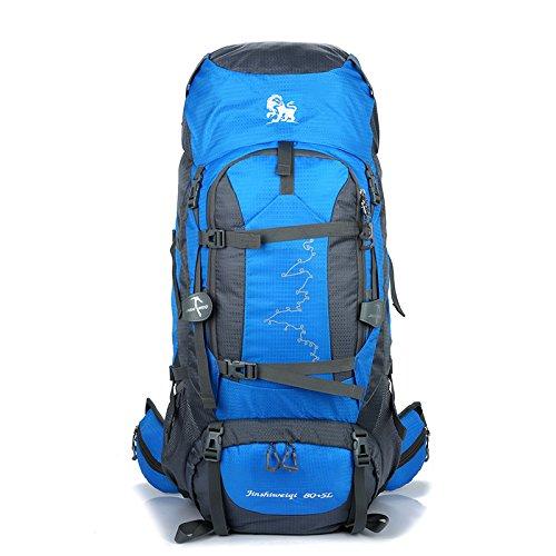 LV-Trading 85l Wasserdichter Leichter Wanderrucksack Trekkingrucksack Reiserucksack Backpackerrucksack 80l + 5l = 85 Liter mit 1,9 kg Eigengewicht - für Damen und Herren Zum Wandern Geeignet (Blau)